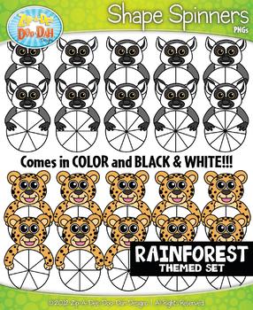 Rainforest Animals Spinner Shapes Clipart {Zip-A-Dee-Doo-Dah Designs}