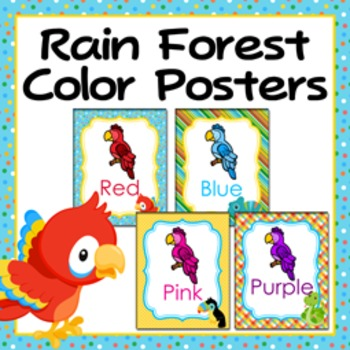 Rainforest Animals Theme Color Posters