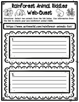 Rainforest Animals Webquest