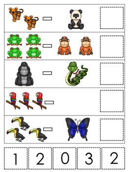 Rainforest Animals themed Math Subtraction preschool learning game. Daycare math