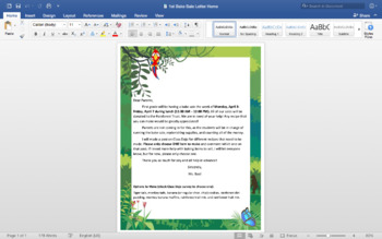 Rainforest Bake Sale Bundles - Letters to Parents & Staff, Recipes