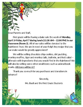 Rainforest Bake Sale Letter to School and Other Parents