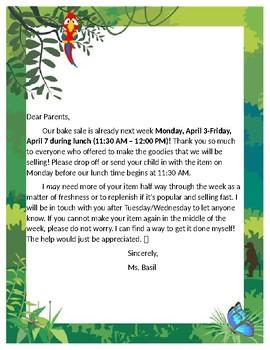 Rainforest Bake Sale Reminder Letter to Parents