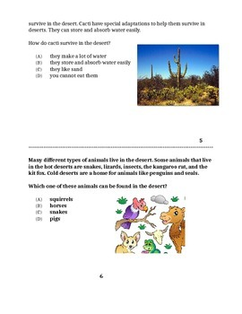 Desert Biome, Differentiated for low or non verbal students.