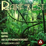 Rainforest Reading Mapping and Color by Number Activity for Distance Learning