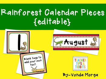 Rainforest Calendar Pieces and Nametags