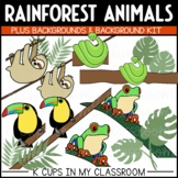 Rainforest Clip Art (Sloth, Snake, Toucan, Red-Eyed Tree Frog PLUS Backgrounds!)