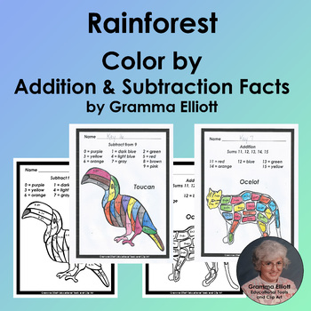 Color by Addition and Subtraction Facts Rainforest Theme N
