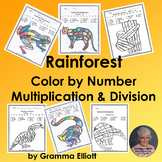 Color by Multiplication and Division Facts Rainforest Them