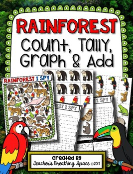 Rainforest Count, Tally, Graph and Add --- Rainforest Graphing Math Center