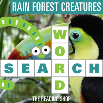 Rainforest Creatures Word Search - Primary Grades - Wordsearch Puzzle