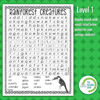 Rainforest Animals Word Search Puzzle - 3 Levels Differentiated