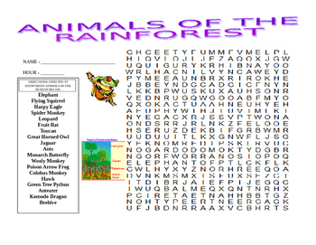 Rainforest Diagram and Wordsearch
