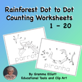 Rainforest Dot to Dot Counting 1 - 20  for Home and School