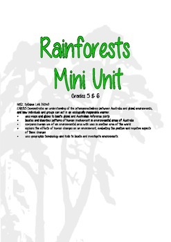 Rainforest Environments Mini Unit