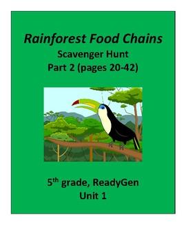 Rainforest Food Chains (part 2) Scavenger Hunt, 5th grade ReadyGen Unit 1