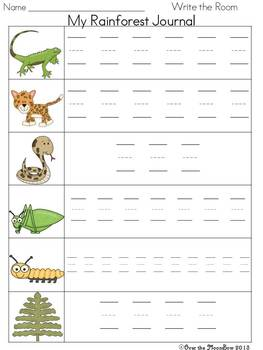 Rainforest Friends Write / Stamp the Room Activity Pack
