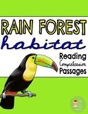 Rainforest Habitat Unit ~Reading Comprehension Passages & Questions ~ Main Topic