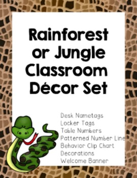 Rainforest Jungle Classroom Theme Decor  (Number Line, Behavior Chart & More!}