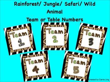 Rainforest Jungle Safari Wild Animal Print Table or Team Numbers/Labels