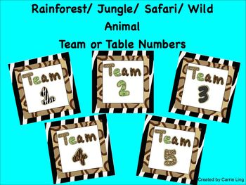 Rainforest Jungle Safari Wild Animal Print Table or Team N