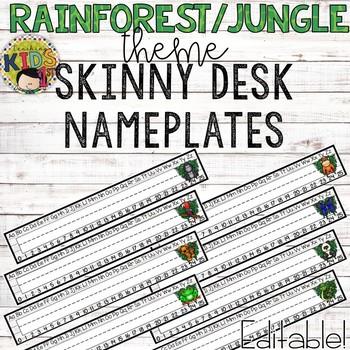 Rainforest Jungle Theme Skinny Editable Desk Nameplates
