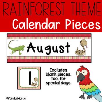 Rainforest Jungle Themed Calendar Numbers