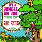 Rainforest & Jungle Themed Classroom Rules Posters *editable*
