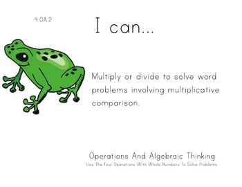 Rainforest Kids Theme 4th grade math Common Core Posters f