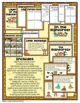 Rainforest Literacy, Math and Science Activities