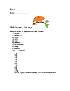 Rainforest Literacy Packet