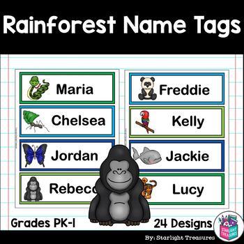 Rainforest Name Tags - Editable