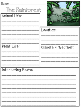 Rainforest Biome/Habitat Research Packet