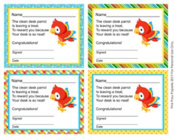 Rainforest Parrot Clean Desk Awards