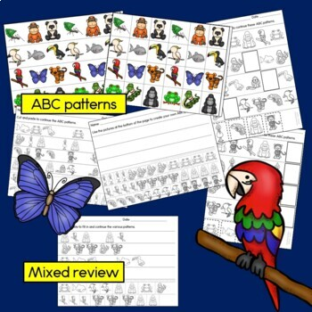 Rainforest Patterns Math Centers with AB, ABC & ABB Patterns
