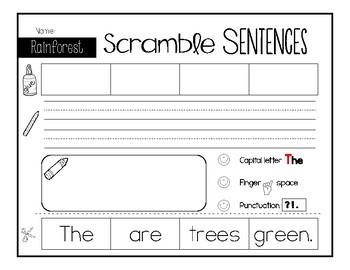 Rainforest Sentence Scramble