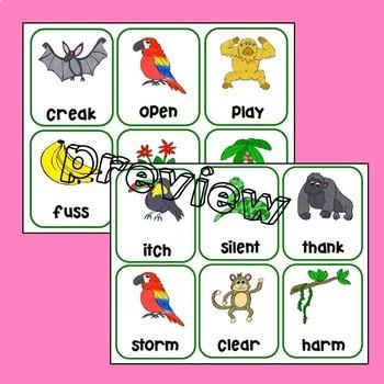 Rainforest Suffixes Match-it-Up Literacy Center Game