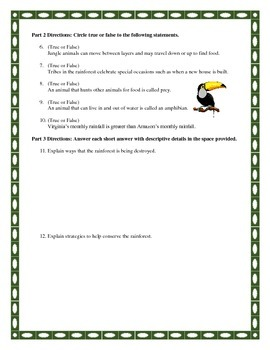 Rainforest Test and Answer Key