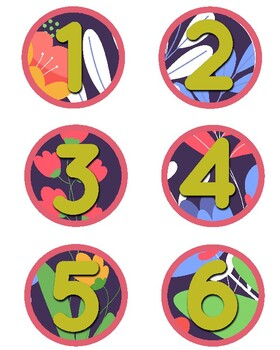 Rainforest Theme Clock Labels 1-12