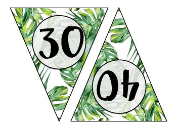 Rainforest Theme Skip Counting Bunting - Skip Count by 10s