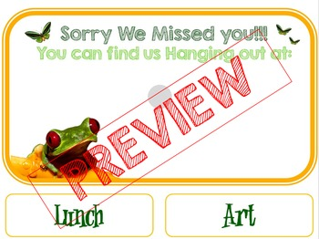 Rainforest Theme Sorry We Missed You Classroom Sign
