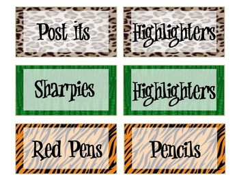 Rainforest Theme Teacher Tool Box Labels