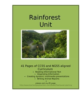 Rainforest Unit- Anteater Animal Study  CCSS and NGSS aligned