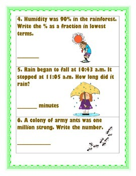 Rainforest Word Problems with Answer Sheet