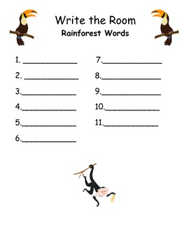 Rainforest Word Wall Cards