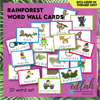 Rainforest Word Wall Cards (set of 10)