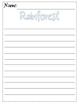 Rainforest Writing Graphic Organizer Primary and Regular Lined Paper