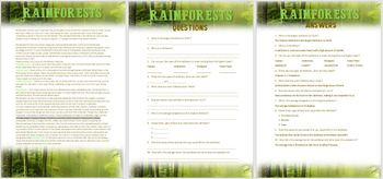 Rainforests- Comprehension