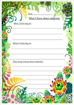 Rainforests topic introduction sheets - differentiated 3 ways