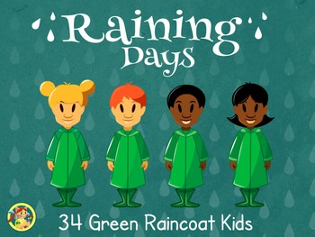 Raining Days- Green Raincoat Kids!!!